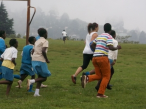 The team joined in with the kids at running club-- lots and lots of laps and crunches...in the rain. But they did it all with a smile!
