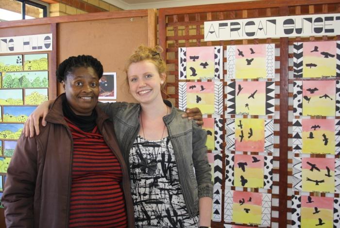 Anna and the Mashaka art teacher, who teaches during the week.
