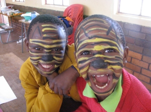 Two tigers give a roar. The kids loved the facepainting... yet another thing we couldn't have done if we didn't have enough volunteers