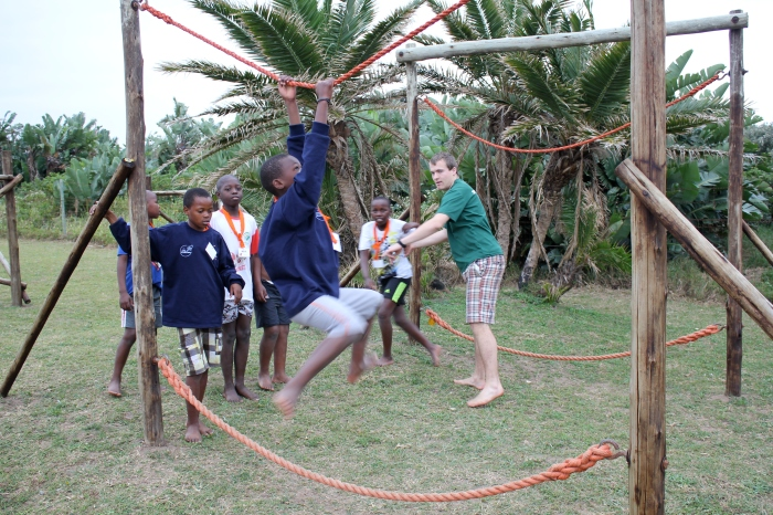 David led the teams through the obstacle course.