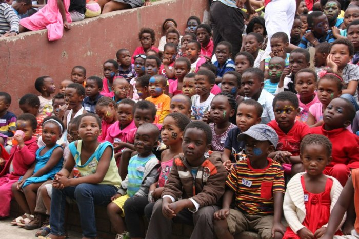 The kids waiting for Baba Christmas to come. We had over 260 kids attend.
