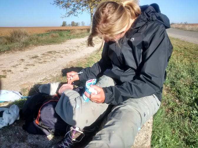 More blister doctoring on the side of the road.